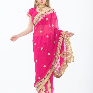 Passion Pink Ready-Made Pre-Pleated Sari