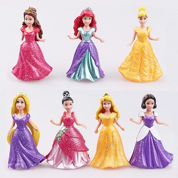 Disney Toys 14pcs/Lot 8cm Pvc Princess Cinderella Elsa Anna Action Figure Set Doll Dress Can Change Classic Toys For Kid