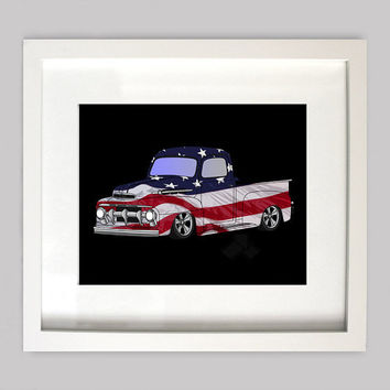 USA Flag 51 Ford Truck 8x10 Old Truck Illustration for Boys Room Decor,Nursery Wall Art,Boys Room Art,or Toddler Boys Room(Digtial Download)