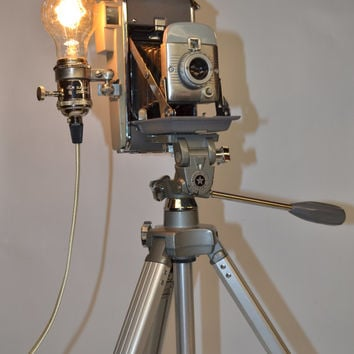 Vintage Polaroid Land Camera Model 80 Lamp Light Mid Century Modern Sunset Tripod Retro Decor