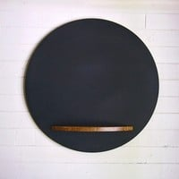 Round Chalkboard with Bamboo Tray, 26 Inches, Wall Hanging Modern