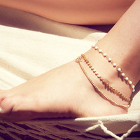 Cupshe Golden Multi-layered Paillette Anklet