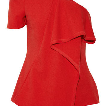 Jason Wu - Asymmetric chiffon-trimmed crepe top