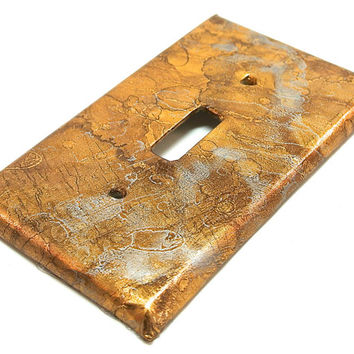 Bronze Light Switch Cover- Bronze Silver Marbled Metallic Paper Light Switch Plate Cover