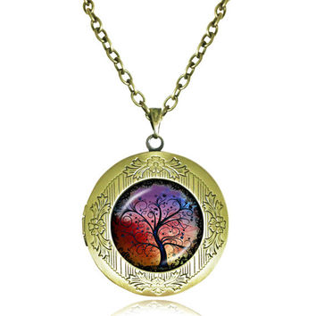 TREE OF LIFE Pendant Bodhi Tree locket Necklace Yin Yang Yoga Tree Jewelry Meditation Jewelry Zen Necklaces tree Reflection 5