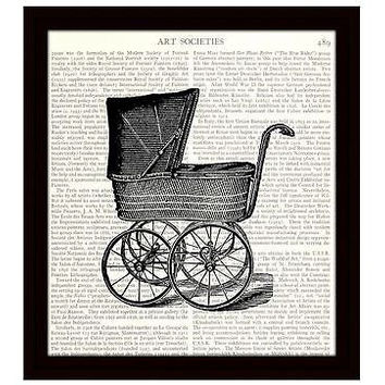 Nursery Decor 8 x 10 Dictionary Art Print Victorian Baby Carriage Pram