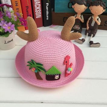 PEAP78W 1 Pcs 2017 New Cartoon Fawn Children Sun Hats Spring Summer Beach Straw Hats For Girl And Boy 9 Colors 8543