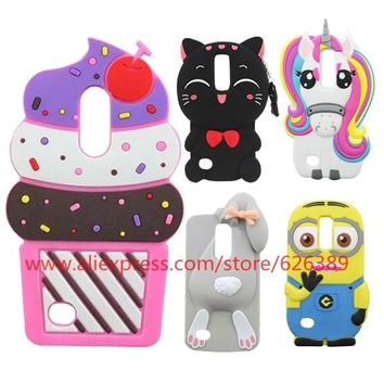 For LG K8 2017 M200N Case Cute Minions Cat Ice Cream Cupcakes Rabbit Bunny Unicorn Pony 3D Cases For LG Aristo LV3 MS210