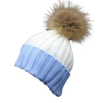 fur ball cap Knitted Wool winter hat for women girl 's Colors patchwork cotton beanies cap brand new thick female cap