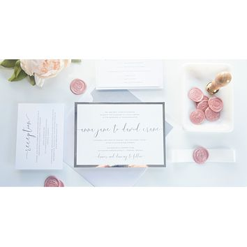 Blush and Silver Vellum and Wax Seal Wedding Invitation - SAMPLE SET