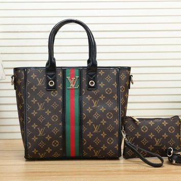 LV Fashionable Women Shopping Bag Monogram Leather Stripe Tote Handbag Shoulder Bag Wrist Bag Set Two Piece Black
