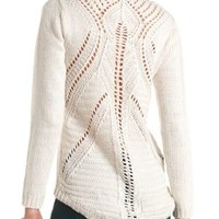 Pointelle Back Pullover High-Low Sweater by Charlotte Russe - Ivory