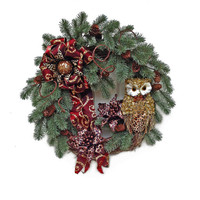 Owl Christmas Wreath for Door, Holiday Wreath, Winter Wreath, Outdoor Christmas Wreath,Front Door Wreath,Door Decor,Cheetah,Leopard,Fall