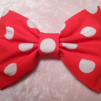 Red/ Big Polka Dots Hair Bow, Girls Hair Bow, Fabric Hair Bow