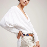 """""""Free People"""" Solid Color Fashion Retro  V-Neck Long Sleeve Loose Shirt Tops"""