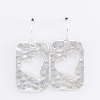 Heart Cut Out Worn Silver Wire Earrings