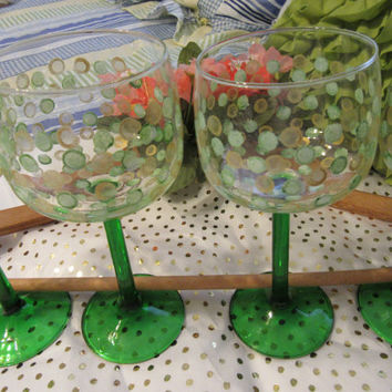 Unique One of A Kind Hand Painted Vintage Crystal Glasses-Green Stems-Luminarc Emeraude Pattern-Made in France-Set of 4- Green Gold Dots