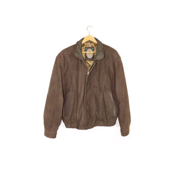 vintage MEMBERS ONLY brown leather bomber jacket - mens L - XL