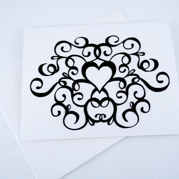 Wedding Day Card, Flourish Heart Card, Masculine Love Card,  wedding thank you, black white