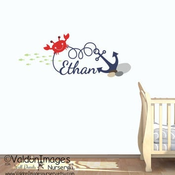 Anchor name wall decal, nursery wall decal, nursery decor, beach decor, boys decor, nursery decals, childrens name decal, nautical decor