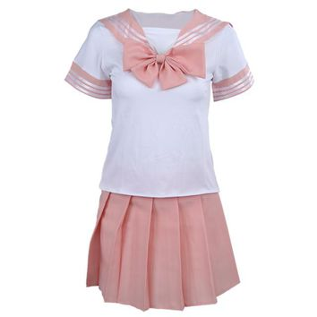 Japanese School Uniform sexy Dress Cosplay Costume Sets Anime Girl Lady Lolita Pink