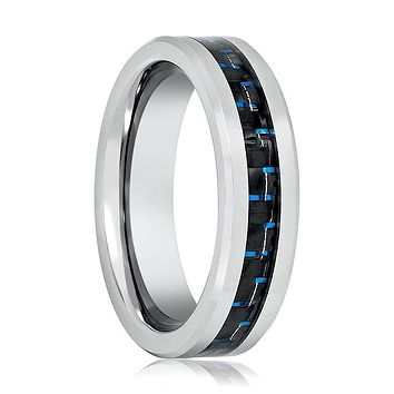 Aydins Silver Mens Tungsten Band Black Blue Carbon Fiber Center Inlay 6mm Tungsten Carbide Wedding Ring