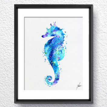 Aqua Seahorse Sea Life Watercolor illustrations Wall Art Poster  Wall Decor Art Home Decor Wall Hanging Item 162