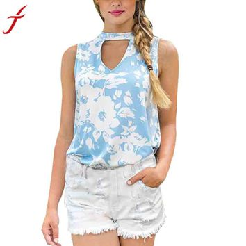 Summer Crop Top New Womens Ladies Sleeveless V Neck Print Shirts Casual Loose Tops Tee Sexy Hollow Out Blue Shirt Blusas