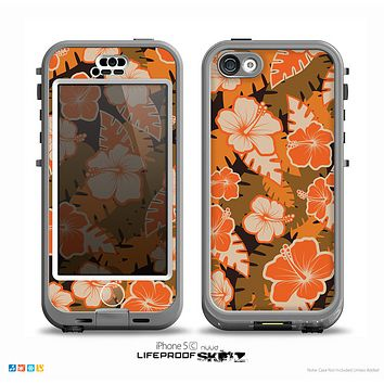The Orange & Black Hawaiian Floral Pattern V4 Skin for the iPhone 5c nüüd LifeProof Case