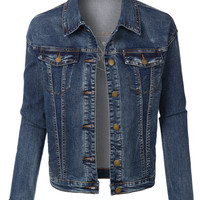 LE3NO Womens Boyfriend Denim Jacket with California Embroidered on Back