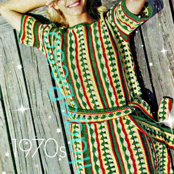 Crochet PATTERN Vintage - Striped Beach Tunic - 70s Crochet Pattern - Basic Stitches Bikini Dress CoverUp - VintageBeso Instant Download PDF