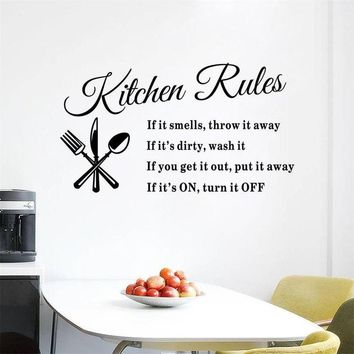 Kitchen Rules Wall Stickers Home Decor DIY
