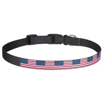 Patriotic dog collar with Flag of USA