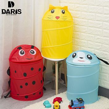 SDARISB Cute Cartoon Animal Basket Foldable Clothes Storage Basket Laundry Basket Dirty Clothes Bucket Toy Storage Basket