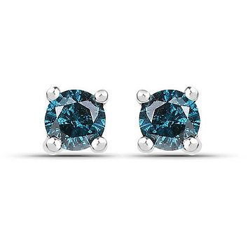 Ethically Mined Natural .25CT Round Cut Blue Diamond Stud Earrings Platinum