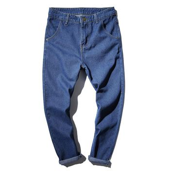 Spring and summer stretch jeans men's pants pants young Japanese harem pants tide men's thin section washed nine pants