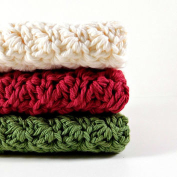 Dishcloths, Apple Orchard, Crochet Dishcloths, Washcloths, 7 1/2 in square, apple decor, kitchen decor, apples