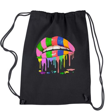 Melting Rainbow Lips Neon Colors Drawstring Backpack