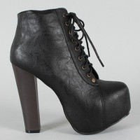 Leah-2 Lace Up Platform Bootie