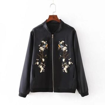 Vintage Black Satin Embroidered Bomber Jacket Women High Quality Floral Coats Female Jackets 2016 Autumn Winter chaquetas mujer
