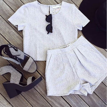 Gray Short-Sleeve Tank Top + pleated Shorts