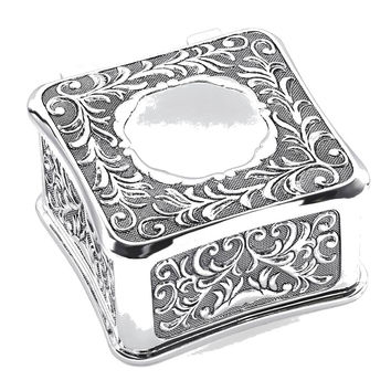 Antiqued Silver-plated Square Jewelry Box - Engravable Personalized Gift Item