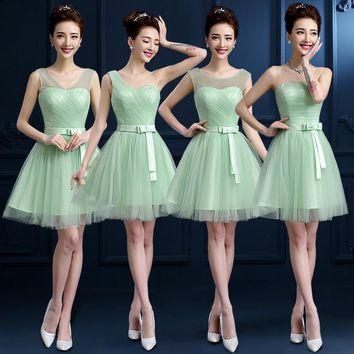 Mint Green Bridesmaid Dresses Tulle Scoop Sleeveless Pleat Mint Party Dresses Vestido De Festa Cheap Bridesmaid Dresses Under 50