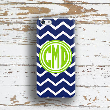 Preppy  Iphone 6 plus case, Chevron Iphone 5c case, Monogram iPhone 5 case, Girl's iPhone 6s case, Fashion accessories Navy lime green (9760