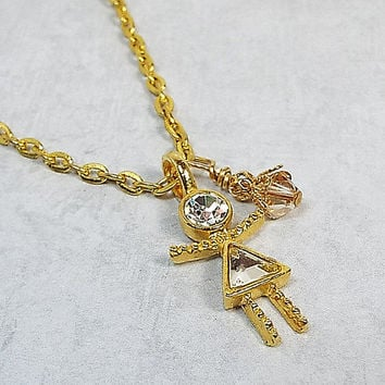 Rhinestone Girl Pendant Necklace Gold Plated 23 Inch Chain Made with Swarovski Bicone,  Vintage Charm, and Lobster Claw Clasp Womens Gift