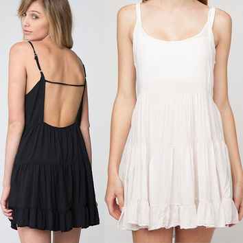 Backless Solid Stretch A-Line Ruffle Dress