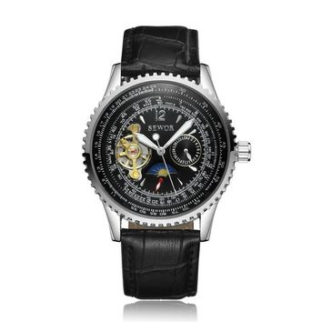 Watches Men Rectangle Mechanical Automatic Watches Male Golden Skeleton Dial Self-wind  Leather Wristwatches