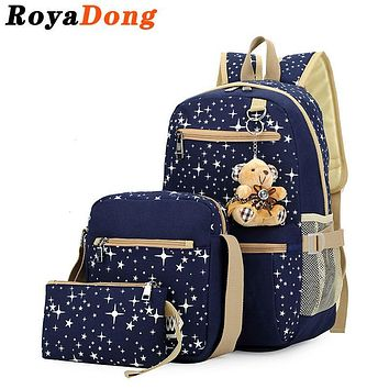 Sets Backpack Women's School Bag Book Bag For Teenager Canvas Stars Prints Dot Cute Bear Pendent Fashion Satchel Mochila 2017