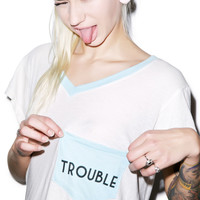 Wildfox Couture Trouble Romeo Pocket V-Neck Tee Honolulu Blue
