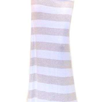 Beige Stripe High Waist Stretch Maxi Skirt